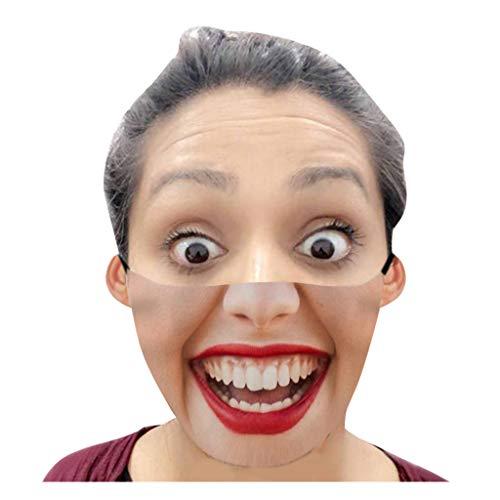 Cerlemi Mundschutz Waschbar Lustiger Ausdruck Winddicht Maske Weihnachten Waschbar Atmungsaktiv Lustig Mode Mund-Nasen Blumen Wiederverwendbare Halstuch Schals für Herren Damen