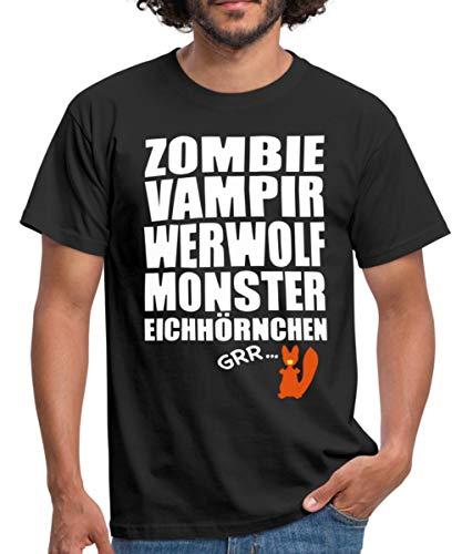 Zombie Werfolf Monster Eichhörnchen Männer T-Shirt, XXL, Schwarz