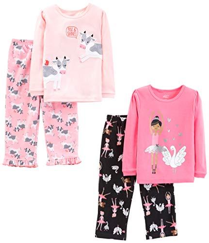 Simple Joys by Carter's Little Kid und Kleinkind Mädchen 4-teiliges Pyjama-Set ,Ballerina/Cows ,4