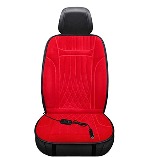 FKYUYU Sitzauflagen Auto Beheizbar Kurze Plüschkissen Anti-Rutsch-Durable Winter Auto Elektroheizung 12V Heizung Pinzette Pillow Driver,Red
