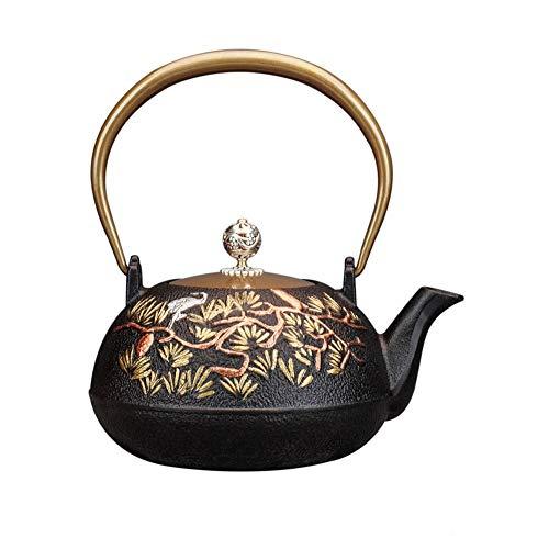 YuYzHanG Tetera De Hierro Fundido Hierro Fundido Negro Tetera con 1300 Ml Tallado Japón Tetera Japonesa Kung Fu Conjunto De Tetera De Té Tetera Japonesa (Color : Black, Size : 1300ml)