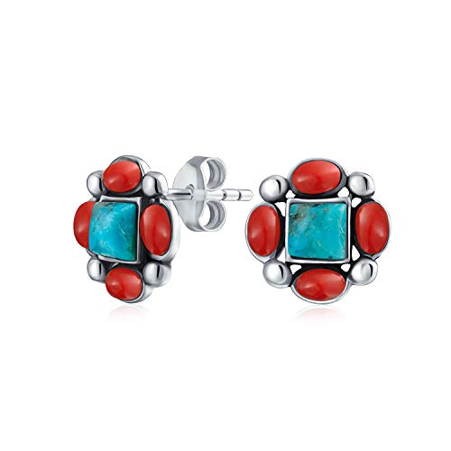 South Western American Style 925 Sterling Silver Genuine Gemstone Stabilized Turquoise Red Coral Concho Stud Earrings For Women