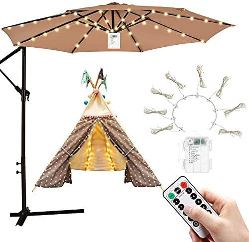 URFEDA Patio Umbrella Lights,Waterproof LED String Lights,Outdoor Home Decor with 8 Brightness Modes 104 LEDs,Summer Remote Control Battery Operated Lantern Camping Tents Swimming Pool,Garden Beach