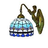 LHQ-HQ Británica Moderna del vitral de Tiffany Sala Comedor Dormitorio Clubhouse Bar Pasillo Mediterráneo Azul de la Pared de la lámpara Decoración de Tiffany Lámpara de Pared
