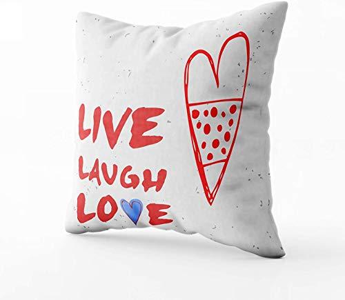 Fundas de almohada, Live Laugh Love Valentine39s Day tarjeta de felicitación con corazón dibujado a mano 45.7 x 45.7 cm fundas de almohada para el hogar dormitorio y sofá decoración