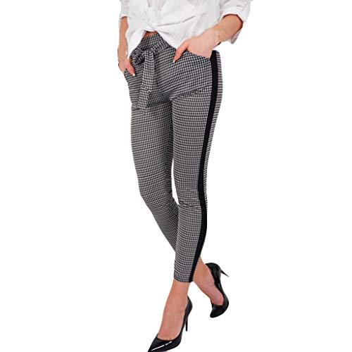 QinMM Pantalones a Cuadros de Ajuste de Volante Suelto para Mujer Pants Cintura Alta Botones, Gris, L