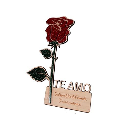 Rosa madera metacrilato glitter, San Valentín, Sant Jordi, Día de la Madre, regalo personalizado