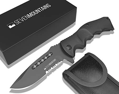 SEVENMOUNTAINS Taschenmesser aus Aluminium mit Edelstahl Klinge | Outdoor Messer für Campen, Wandern, Survival, Bushcraft | Einhandmesser Klappmesser