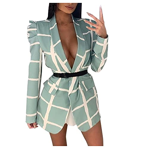 Dasongff Veste Blazer Femme Grande Taille Col Châle Veste de Tailleur à Carreaux Manches Longues Costume de Bureau Sexy Streetwear Revers Tendance Veste de Costume de Soiree OL avec Belt