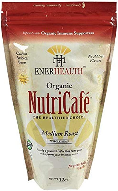 Enerhealth NutriCafe Premium Gourmet Organic Whole Bean Roasted Mushroom Coffee Choose Ganoderma Reishi Cordyceps Turkey Tail Maitake And Shitake Extracts Immune Supporters