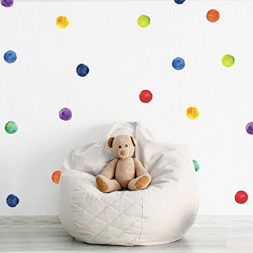 Wallency Polka Dots Wall Decals - Set of 48 Watercolor, Colorful, Round, Peel and Stick, Removable Wall Stickers, 3 inches each