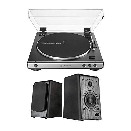 Audio-Technica AT-LP60X-GM Turntable (Gunmetal) Bundle with Microlab Pro1BT Bookshelf Speakers (2 Items)