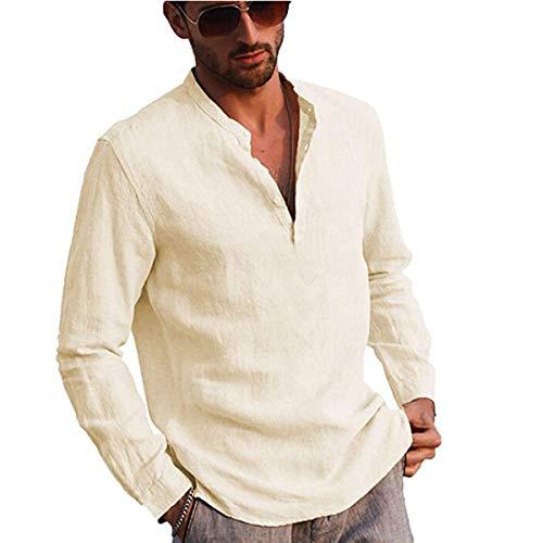 Votuleazi Camicia a Maniche Lunghe da Uomo Camicia in Cotone e Bottone Lino Colletto alla Coreana Elegante Camicia Hippie (Beige, X-Large)