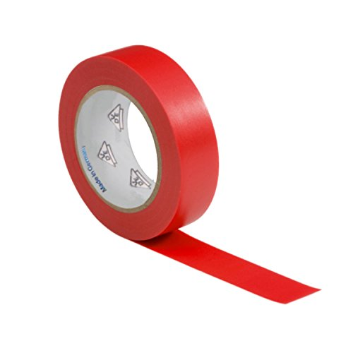 AUPROTEC 1 Rolle VDE Isolierband Isoband Elektriker Klebeband PVC 15mm x 10m DIN EN 60454-3-1 Farbe: rot