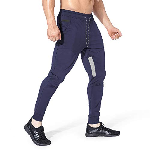 Yageshark Herren Jogginghose Sporthose Baumwolle Fitness Slim Fit Hose Freizeithose Trainingshose Joggers Streetwear (Marine, Medium)