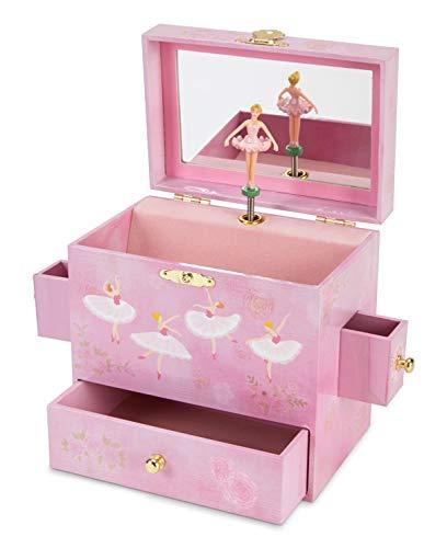 Jewelkeeper - Joyero Musical Bailarina con 3 Cajones, Diseño Rosa - Melodía del Lago de los Cisnes