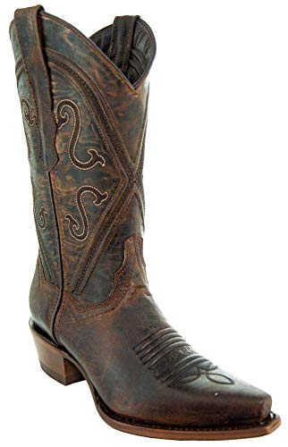 Soto Boots Women Cheyenne Leather Snipped Toe Cowgirl Boots M50041 (Brown,8.5 B(M) US)