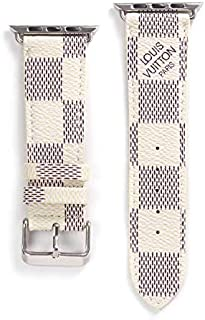 PU Leather iWatch Band Compatible with Apple Watch Band 38mm 40mm, Fashion Pattern Designed Premium PU Leather Band Strap with Stainless Metal Buckle for Apple Watch Series 4 3 2 1, White