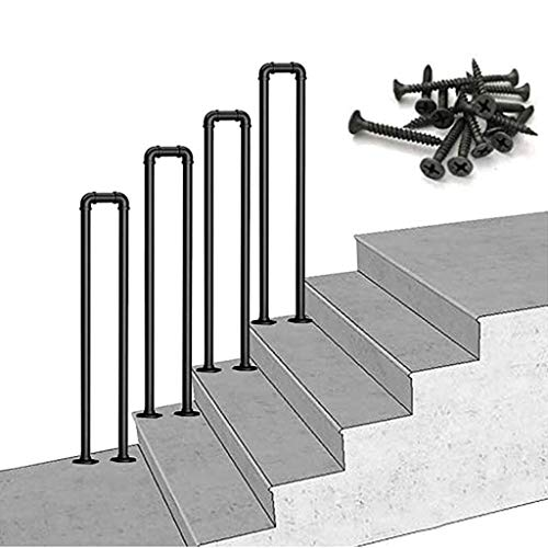 FCXBQ Pasamanos de transición para peldaños y peldaños de Madera |Piquete de barandilla para escaleras Exteriores Peldaños Exteriores |Baranda de Escalera Baranda de Hierro Forjado con Kit de in