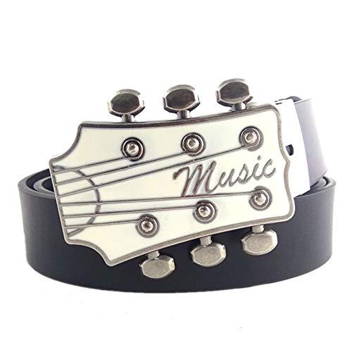 Cinturón Hombre Serie Musical Guitarra Blanca Cinturón De Metal Hebilla Cinturones De Cuero Negro Para Hombres Cinturón De Hebilla Para Hombres Regalos Para Hombres Y Mujeres, Como Se Muestra, 10