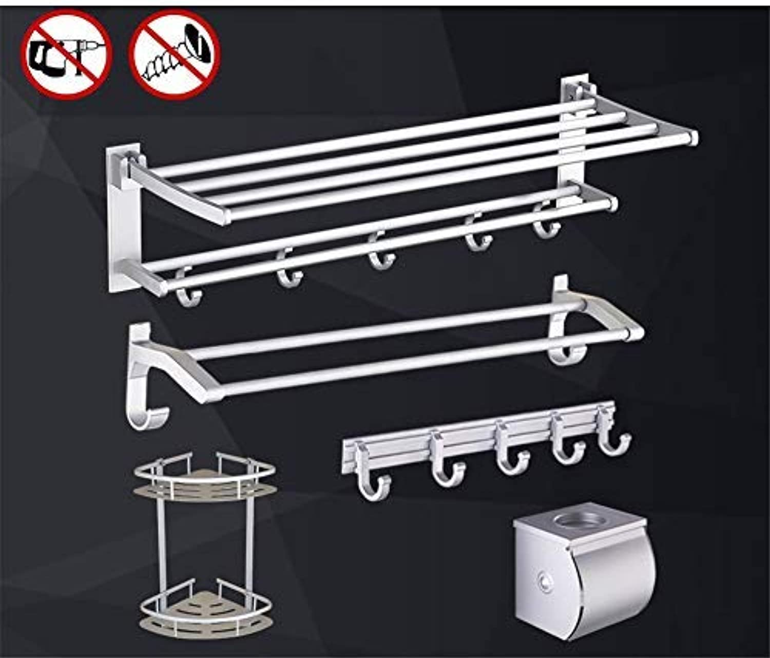 BAIF TowelRackQX Bathroom Shelf,Punch-Free Bathroom Bathroom Shelf Space Aluminum Bathroom Hardware Pendant Set Five-Piece F