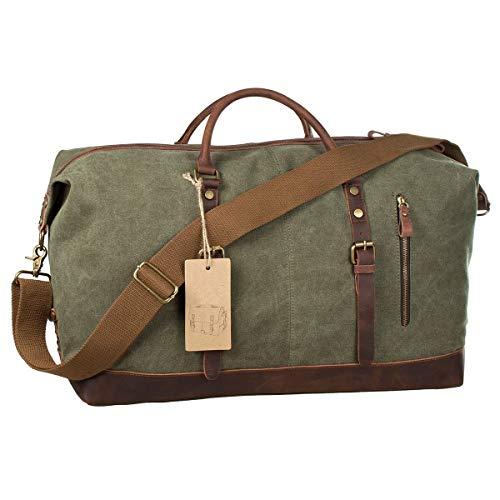 SHS Segeltuch Reisetasche,Vintage Canvas Handgepäck Tasche für Damen Herren,Urlaub Weekender Tasche Travel Bags Reise Duffel Bag mit der Großen Kapazität...