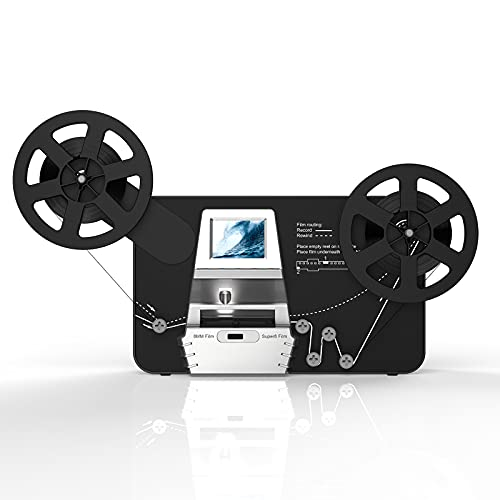 """Super 8/8mm Film Scanner, Frame by Frame Scan to Convert 3 inch and 5 inch 8mm Super 8 Film reels into 1080P Digital Videos,Pro Film Digitizer Machine with 2.4"""" LCD,with 32 GB SD Cardc"""