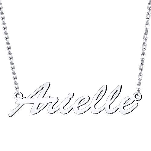 Dreamdecor Name Necklace Personalized, Sterling Silver Custom Nameplate Necklace Charm Jewelry Gift for Women