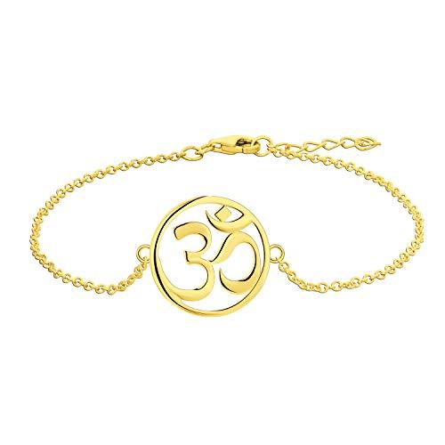 O WISDOM Damen Armband Yoga Aum Om Ohm Zeichen Silber 925 Amulett Fußkettchen (gelbgoldene Farbe)