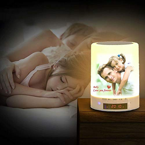 Benutzerdefinierte Full-Color-Foto Bluetooth-Lautsprecher Touch Control Nachtlicht Schlafzimmer Nachttischlampe Tischlampe Musik-Player Gebührenpflichtiger Wecker Geburtstagsgeschenk