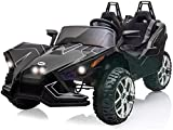Bable 2 Seats Kids Electric Car 12V Ride On Car Truck with Remote Control, Kids Car Ride on Toy Motorized Vehicles with Spring Suspension USB/MP3 Music Player Bluetooth FM Radio and LED Lights - Black