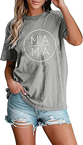 Mama Letter Printed T-Shirt for Women Short Sleeve Mama Graphic Tops Tee Mother's Day Casual Blouse Size L (Gray)