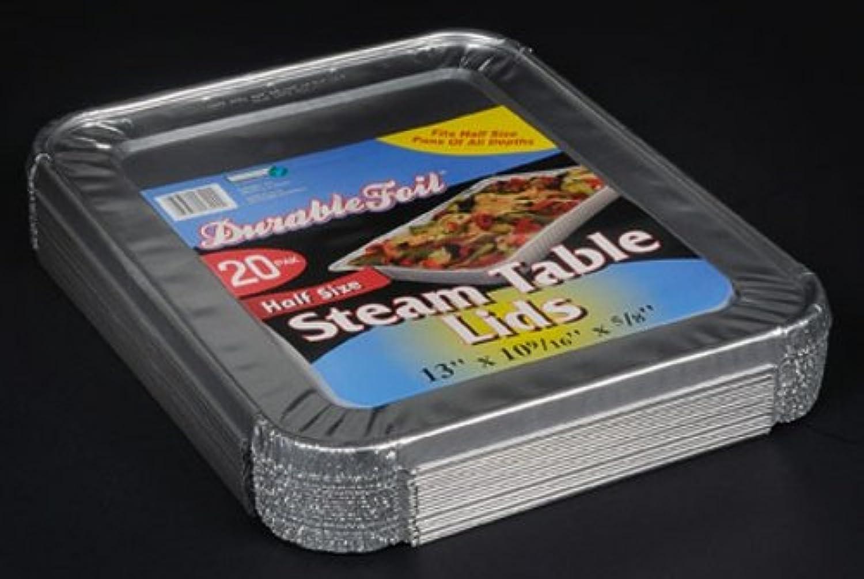 Durable Foil Aluminum Foil Lids for Aluminum Steam Table Pans, Fits Half-Size Pans (5 Bags of 20)