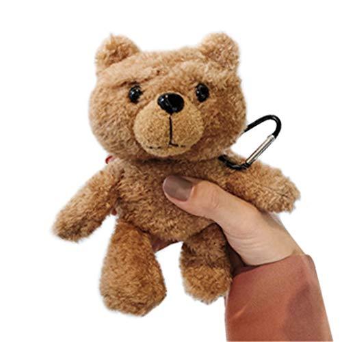 3D Teddybär Puppe Plüsch Schutzhülle Kompatibel mit Apple Airpods 1 & 2 Hülle Süße Cartoon Flauschig Warm Tragetasche Weiche Stoßfeste TPU Silikon Innere AirPod 1 & 2 Case Cover (Brauner)