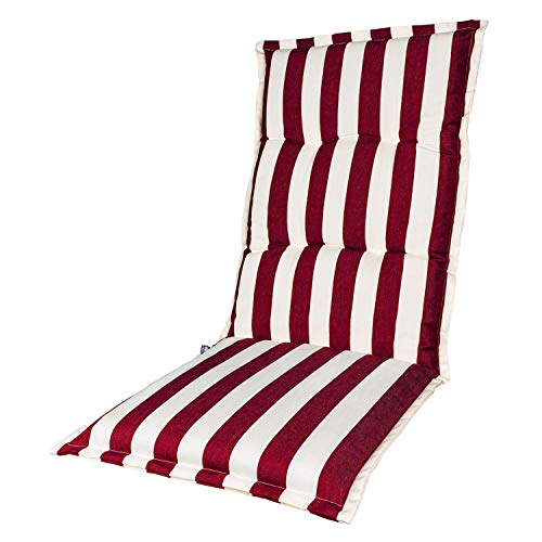 KOPU® Auflage für Hochlehner Mila Red   Polster für Gartenstühle   Rot Garten Kissen 125 x 50 cm   5 Gestreifte Robuster Schaumstoff für zusätzlichen Komfort