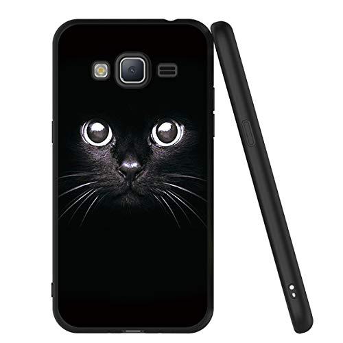 ZhuoFan Funda Samsung Galaxy J3 2016 Cárcasa Silicona Ultrafina Negra con Dibujos Diseño Suave TPU Antigolpes de Protector Piel Case Cover Bumper Fundas para Movil Samsung J32016, Gato Negro