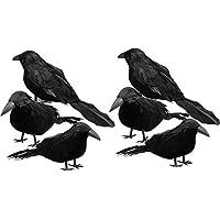 6-Piece Sizonjoy Halloween Black Feathered Crows