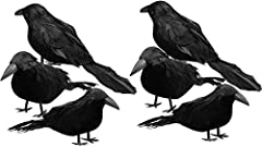 [Package Include] - 6 Halloween Black Feathered Foam Crows with Real life-like Appearance [Crow Measurements] - Each crow approximately 4 inches tall and 6 inches from beak to tail feathers [Material] - High Quality foam with feathers. [Ideal Hallowe...