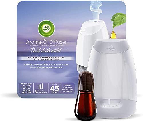 Air Wick Aroma-Öl Diffuser – Starter Set mit Diffuser und Duft-Flakon – Batteriebetrieben – Duft: Entspannender Lavendel – Duo-Pack (2 x 20 ml ätherisches Öl + 2x Diffuser in weiß)