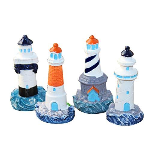 YeahiBaby 4 Stücke Mini Leuchtturm Deko Maritime Dekoration Fee Garten Ornamente Hochzeit Tischdeko für Badezimmer Kinderzimmer Blumentopf (Zufällig)