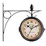oofay Reloj de pared retro de doble cara, reloj de jardín al aire libre, con cubierta impermeable, adecuado para interiores, exteriores, valla