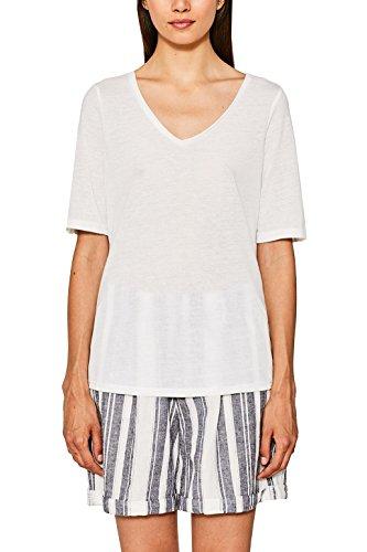 ESPRIT 077ee1k008 Camisa Manga corta, Blanco (Off White 110)