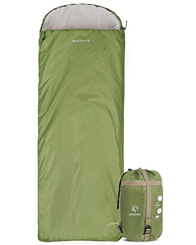 "REDCAMP Ultra Lightweight Sleeping Bag for Backpacking, Comfort for Adults Warm Weather, Hooded with Compression Sack Green (87""x 32.5"")"