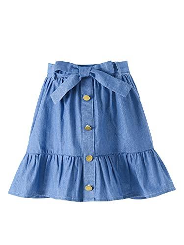 Freebily Falda Corta Verano para Niñas Falda de Vaquero Falda A-Line con Botones Lazo Skirt Faldas Volantes...