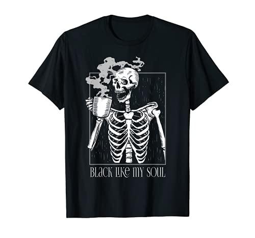 Black Coffee like my Soul Skeleton Drinking Coffee Funny T-Shirt
