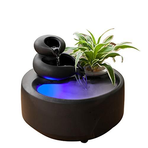 Fuente de agua para escritorio de cerámica, decoración de agua en maceta, hogar, oficina, sala de estar, pecera, decoración sencilla (color: negro)