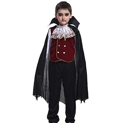 XRQ Vestido de Vampiro fantasmal de Halloween, Disfraz de Vampiro Earl, nio Vampiro Prncipe Fantasma de nios, Que Incluye Top + Pantalones + Capa con Accesorios,Negro,XL