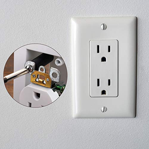 24 Pieces Electrical Outlet Extender Kit Include 12 Pieces Switch and Receptacle Screw Round Straight Tube and 12 Pieces Longer Screws for Fix Wonky and Sunken Outlets