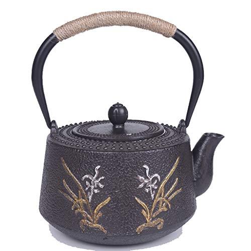 Tetera Japonesa Tetera de hierro fundido con infusor removible estilo japonés Tetsubin Tetera 1.2L |Tetera de hierro fundido for mantener el té caliente |Hervidor de hierro con patrón de orquídea Tete