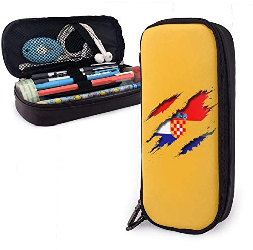 Federmäppchen Rucksäcke Taschen Cro-atia Shred_ding Pencil Case - High Capacity PU Leather Pencil Pouch with Double Zipper Stationery Organizer Multifunction Cosmetic Makeup Bag